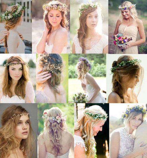 Coafuri mireasa cu coronita din flori