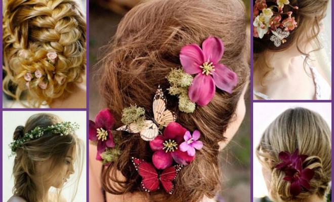 Coafuri mireasa cu flori naturale