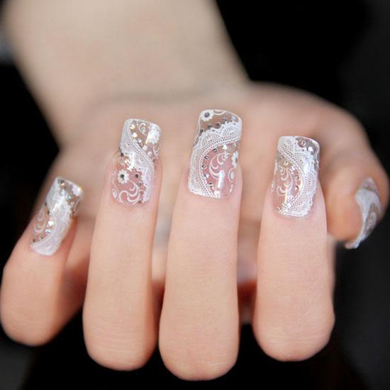 Modele de unghii cu dantela pentru mirese