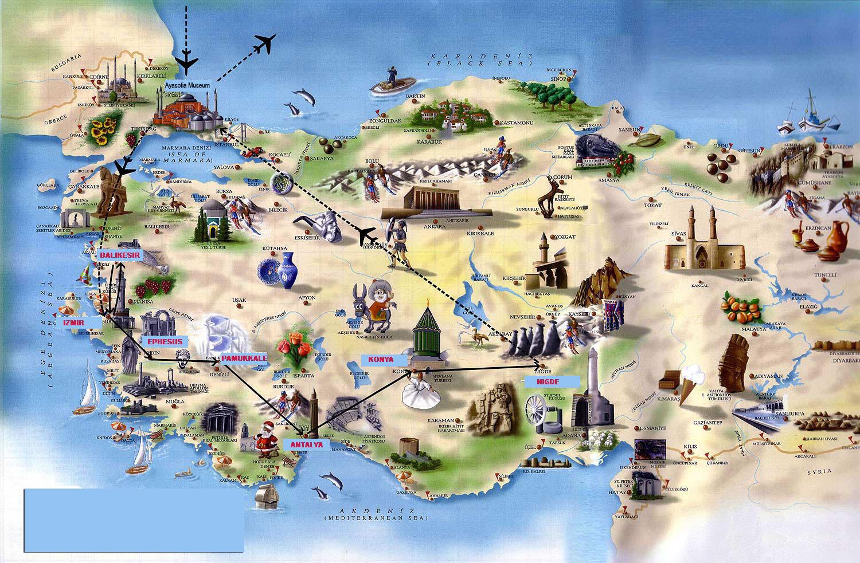 Turcia harta turistica