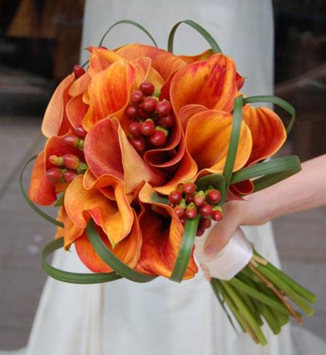 buchet pentru mireasa din cale portocalii