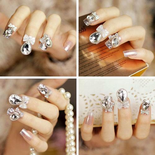 model de unghii cu gel cu pietre