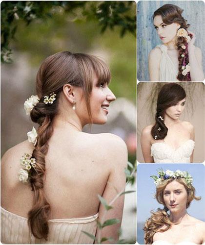 modele de Coafuri cu flori naturale in par