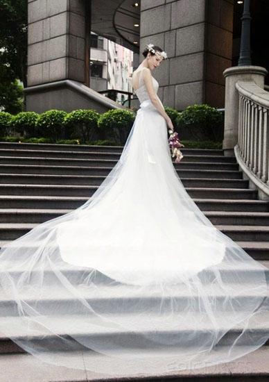rochie cu trena de mireasa
