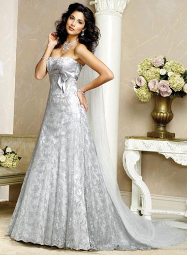 rochie mireasa argintie
