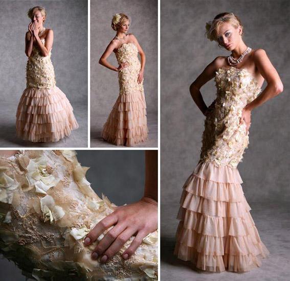 rochie mireasa crem