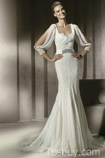 rochie mireasa cu maneca eleganta