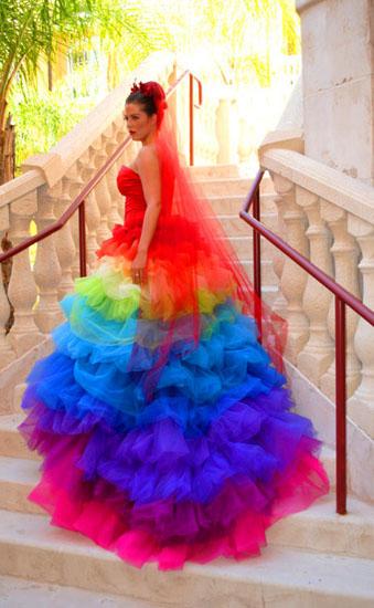rochie mireasa multicolora