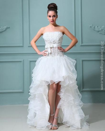 rochie mireasa scurta in fata lunga in spate pentru minione