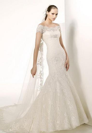 rochie mireasa spaniola cu maneca scurta