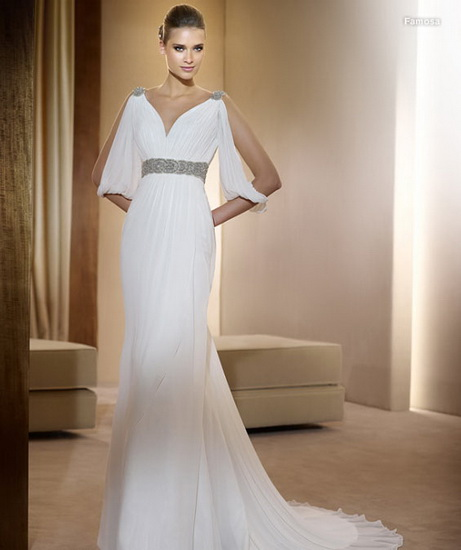 rochie mireasa stil grecesc cu maneci