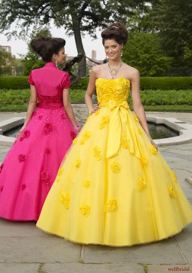 rochii mireasa roz si galben