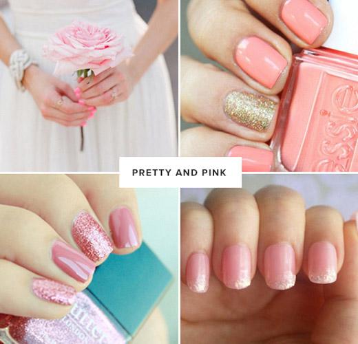 unghii cu gel roz pentru mireasa