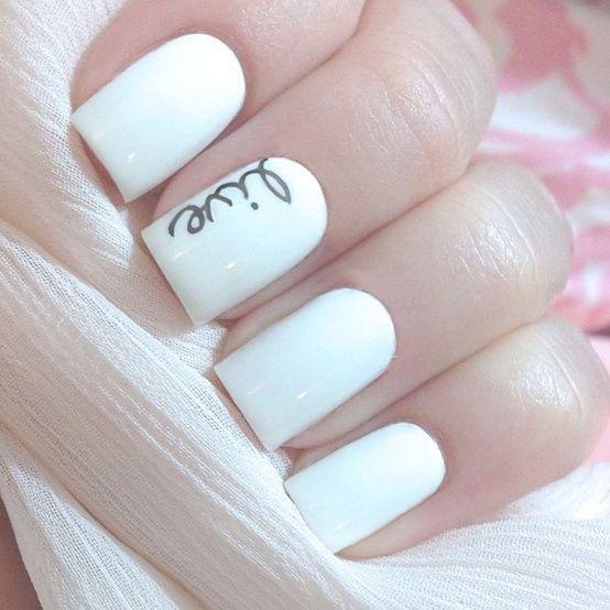 unghii mireasa cu alb