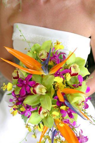 Buchet de mireasa deosebit din plante exotice
