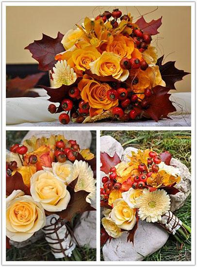 Buchet mireasa crizanteme si flori de toamna