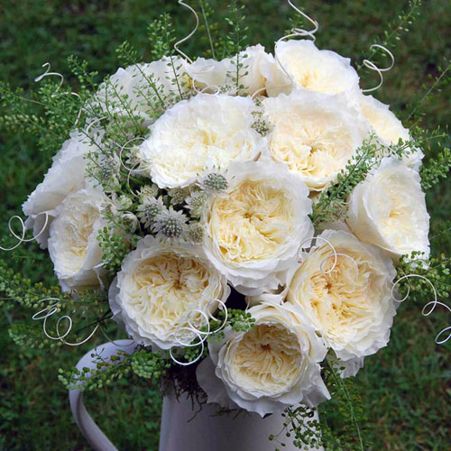 Buchetul miresei din trandafiri albi