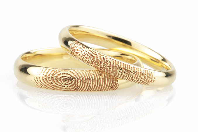 Modele verighete aur galben cu amprenta