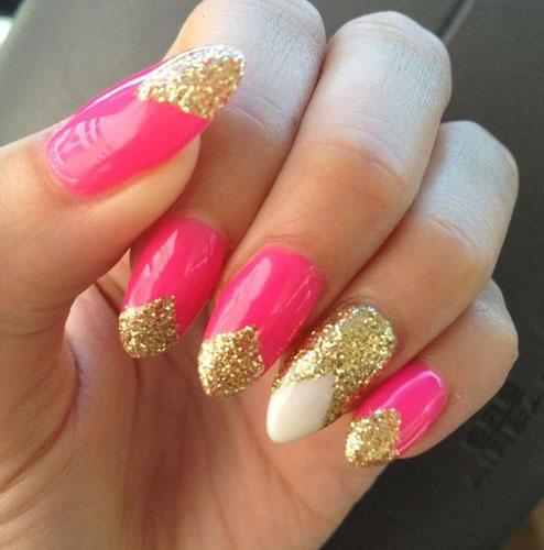 Unghii french roz si auriu