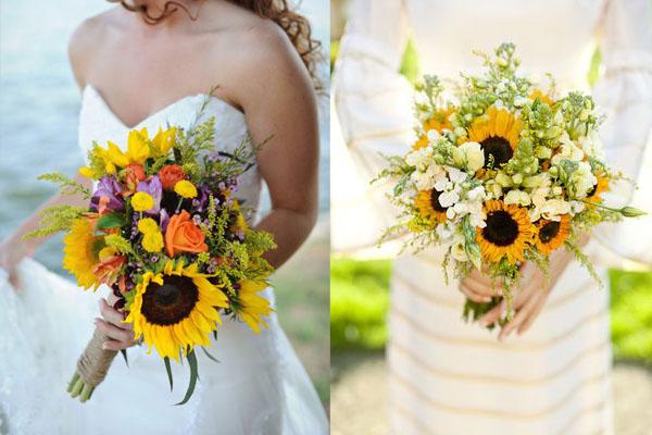 buchet de nunta cu floarea soarelui