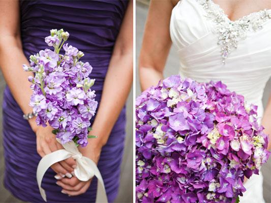 buchete mireasa cu flori mov de primavara
