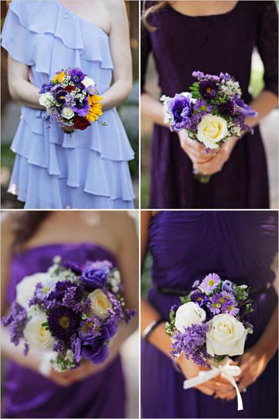 buchete mireasa cu flori mov
