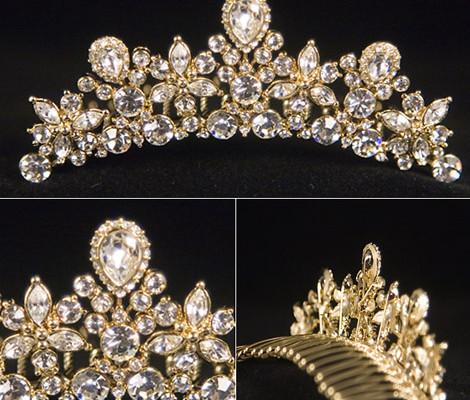 coronita mireasa din aur cu cristale