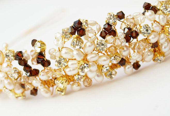 coronita mireasa din aur cu perle