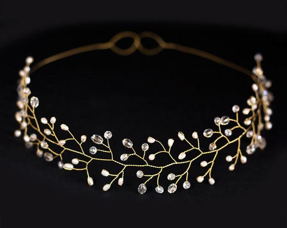 coronita mireasa din aur eleganta