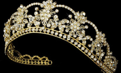 coronita mireasa din aur si diamante