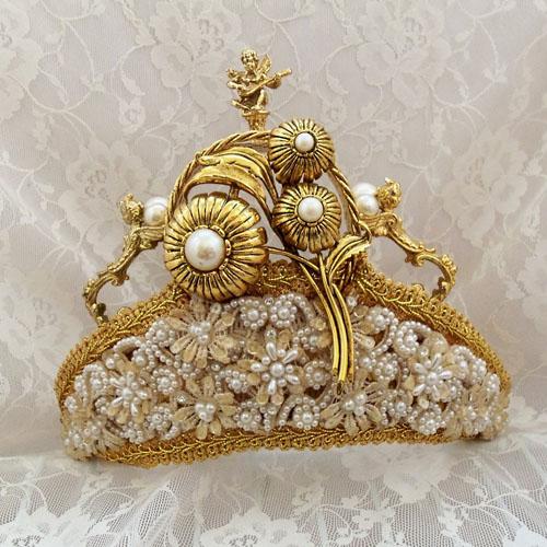 coronita mireasa din aur tip regina