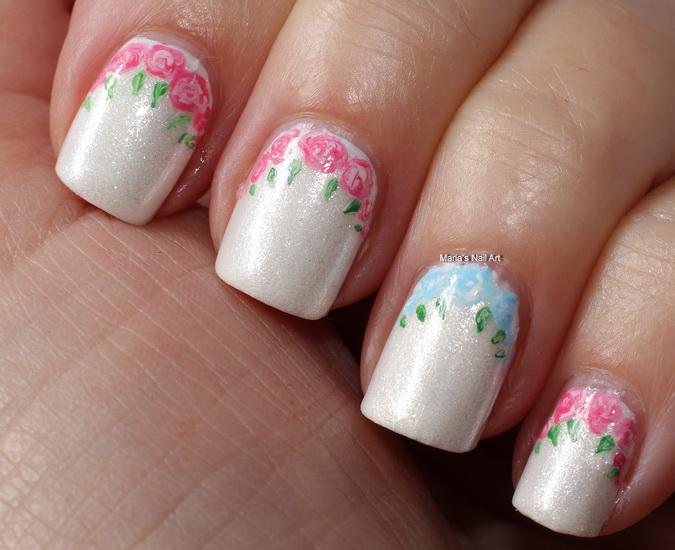 manichiura mireasa cu flori