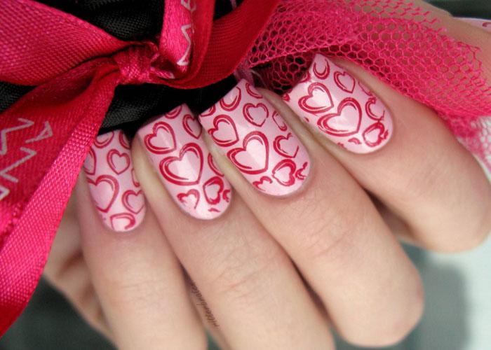 model unghii cu inimioare