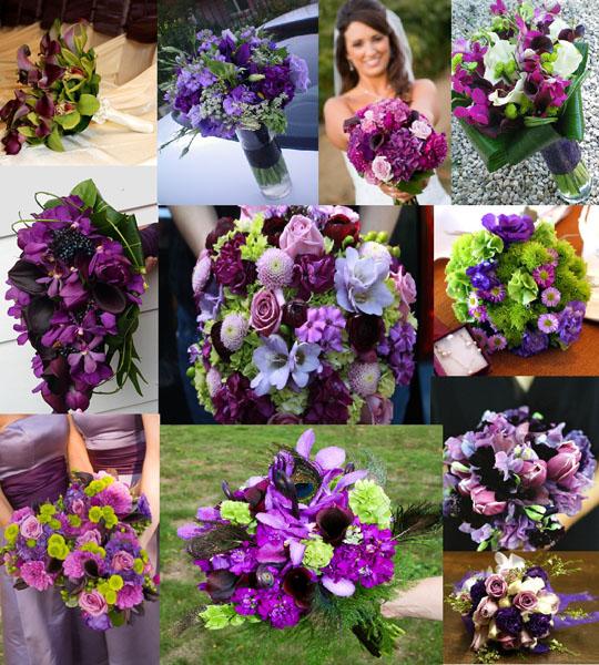 modele buchete mireasa din flori mov
