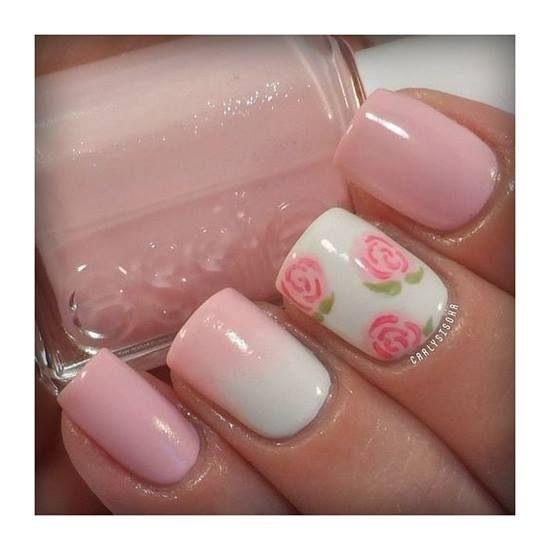 modele unghii mireasa roz simple