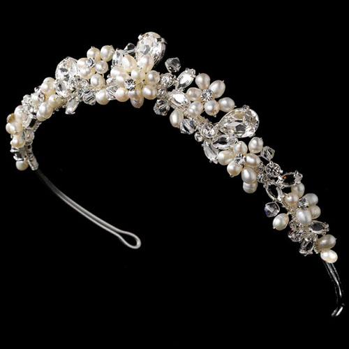 tiara cu perle si cristale
