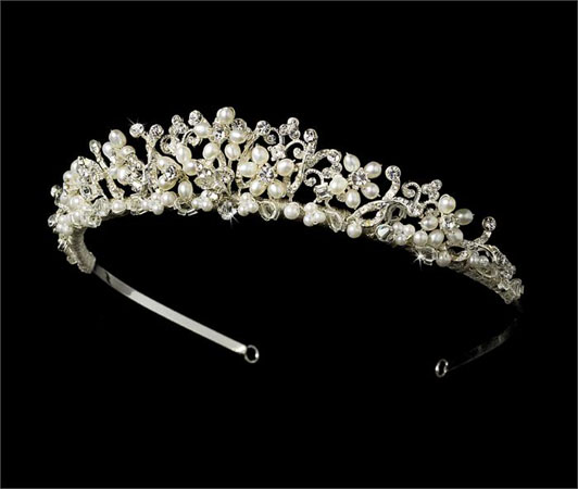 tiara din argint cu perle