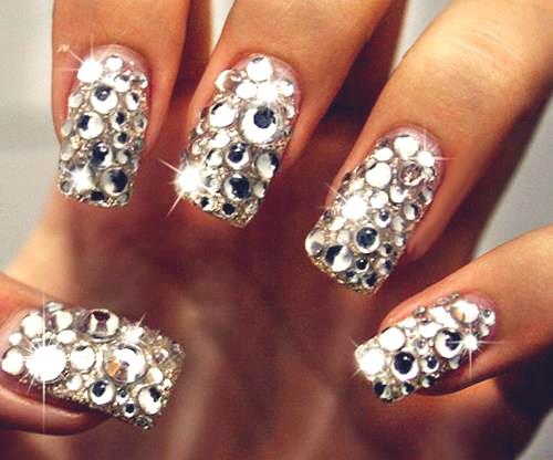 unghii de mireasa cu diamante