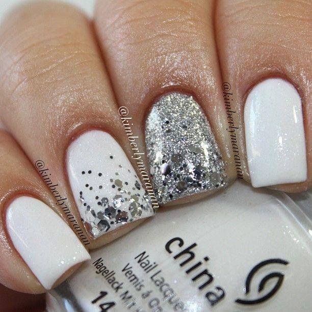 unghii mireasa argintii simple