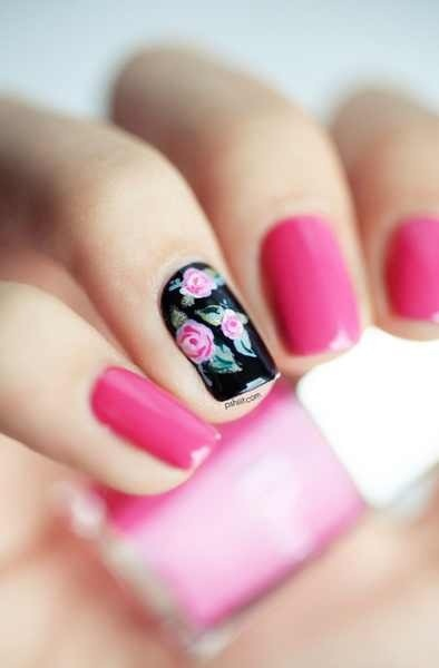 unghii mireasa cu flori simple