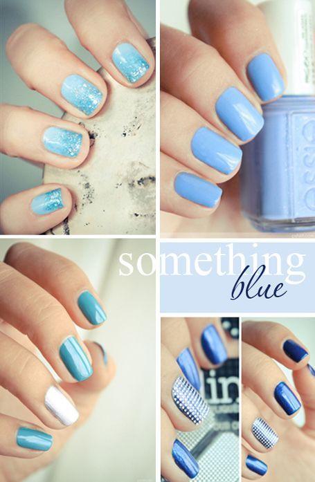 unghii mireasa simple albastre