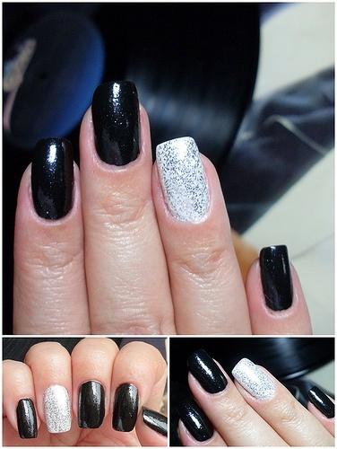 unghii mireasa simple negru si alb