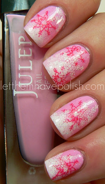 unghii roz model de iarna