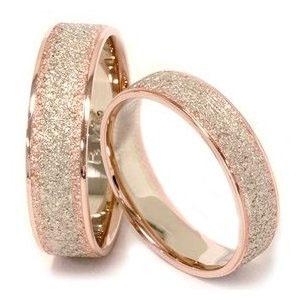 verighete aur roz cu praf de diamante