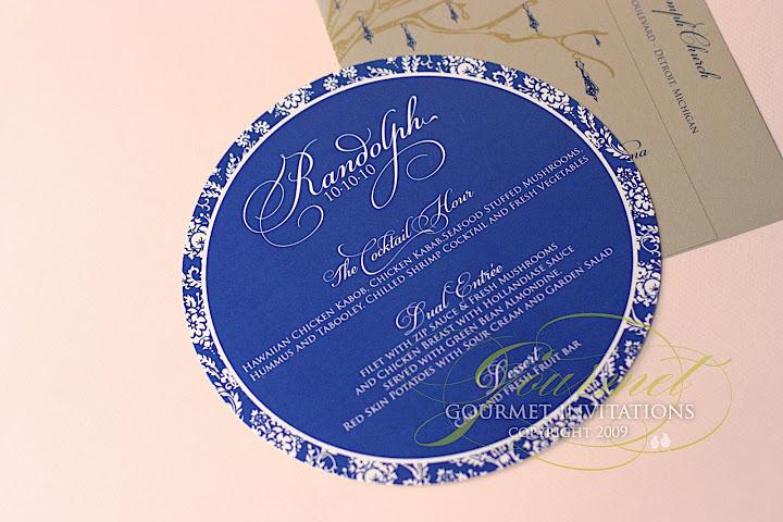 invitatie de nunta albastra rotunda