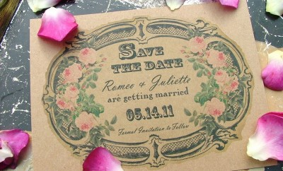 invitatie de nunta vintage eleganta