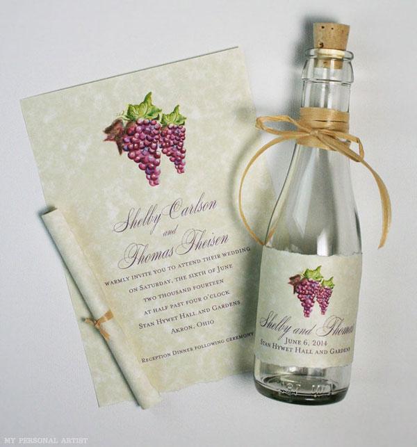 invitatie in sticla nunta rustica