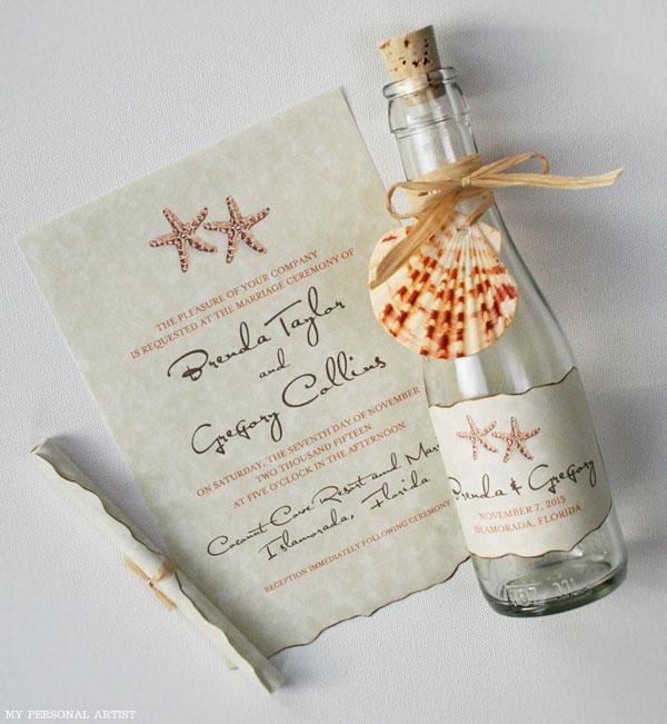 invitatie in sticla pentru nunta pe plaja