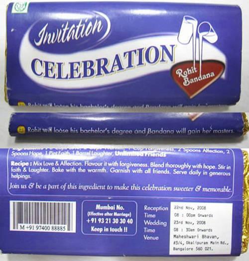 invitatie la nunta pe ciocolata