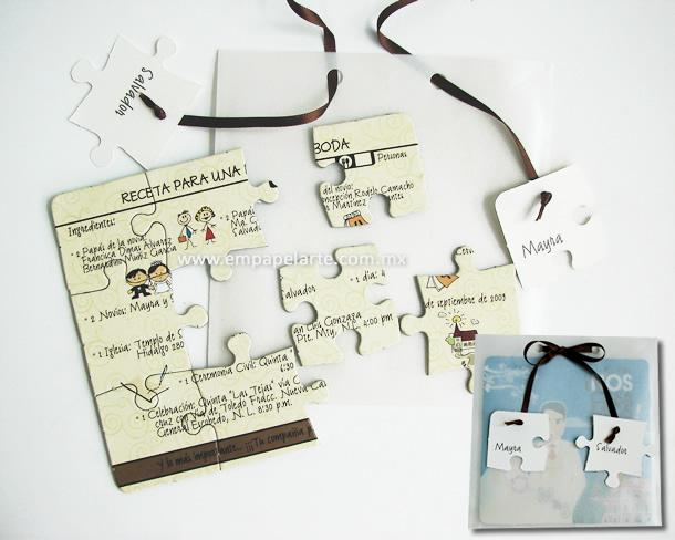 invitatie la nuntain forma de puzzle